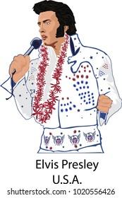 February 08, 2018: vector illustration of a famous singer Elvis Presley, United Estates