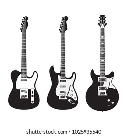 February 10, 2018: Set of black and white electric guitars isolated on white background. Popular types of guitars housing. Fender Stratocaster and Telecaster. PRS Santana.