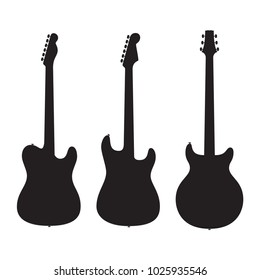 February 10, 2018: Set of silhouettes electric guitars isolated on white background. Popular types of guitars housing. Fender Stratocaster and Telecaster. PRS Santana.