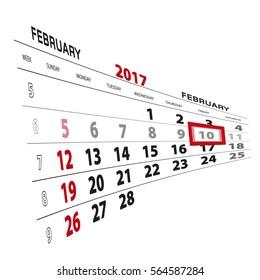 February 10, highlighted on 2017 calendar. Vector Illustration.