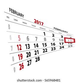 February 11, highlighted on 2017 calendar. Vector Illustration.