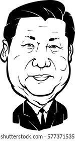 February 12, 2017: A Caricature of president of the People's Republic of China Xi Jinping, isolated on white background.