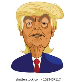 FEBRUARY 12 2018: Caricature of President of the United States Donald Trump. EPS10 vector illustration.