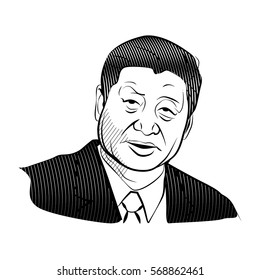 February 1,2016: Vector illustrations of Xi jin ping.