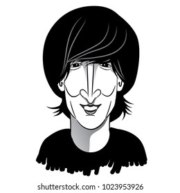 FEBRUARY 13 2018: Caricature of young John Lennon as a Beatle in black and white. EPS10 vector illustration.