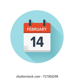 February 14. Vector flat daily calendar icon. Date and time, day, month 2018. Holiday. Season.