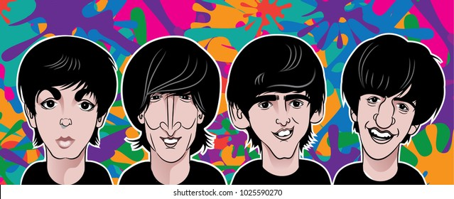 FEBRUARY 15 2018: Banner caricature of young Paul McCartney, John Lennon, George Harrison and Ringo Starr as The Beatles in color on a psychedelic background. EPS10 vector illustration.