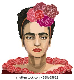 February 16, 2017: a vector illustration of mexican artist Frida Kahlo. Portrait.