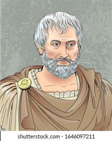 February 16, 2020: Vector illustration of Greek philosopher Aristotle in cartoon style.