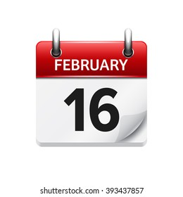 February 16. Vector flat daily calendar icon. Date and time, day, month. Holiday.