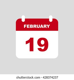 FEBRUARY 19 calendar Icon.