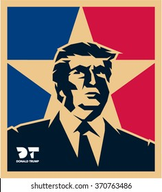 February 2, 2016: Republican Presidential Candidate Donald Trump vector isolated portrait illustration