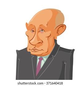 February 2, 2016: Vector illustration of a portrait of President Vladimir Putin