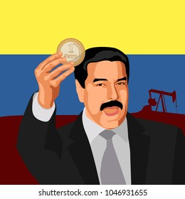 February 20, 2018: President of Venezuela Nicholas Maduro announced the launch of the national cryptocurrency Petro. Vector illustration