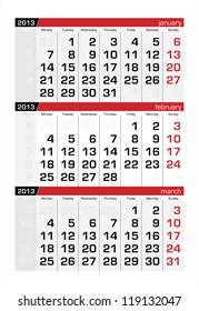 February 2013 Three-Month Calendar