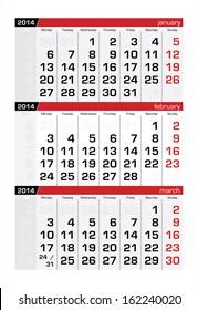 February 2014 Three-Month Calendar