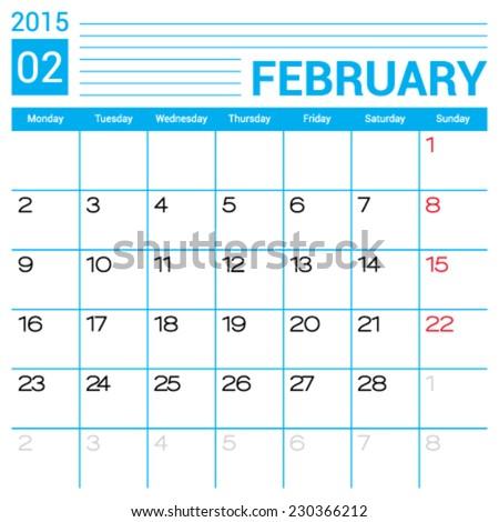 February 2015 Calendar Vector Design Template Stock Vector Royalty