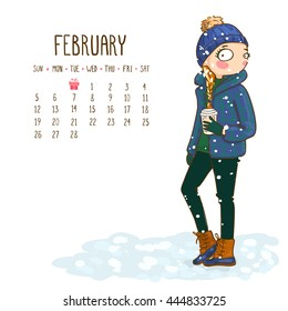 February. 2017 calendar with cute girl holds coffee. Can be used like greeting cards.