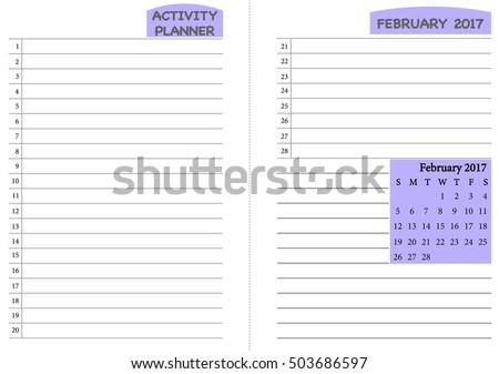 February 2017 Calendar Template Monthly Planner Stock Vector