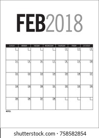 February 2018 - Blank calendar page with dates