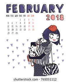 February. 2018 calendar. Cute girl with dog. Can be used like greeting cards.