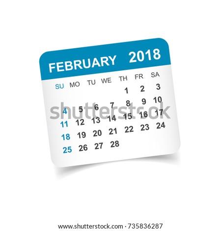february 2018 calendar calendar sticker design template week starts on sunday business vector