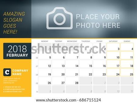 february 2018 desk calendar 2018 year stock vector royalty free