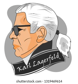 February, 2019: Creative director and artist Karl Lagerfeld dead at the age of 85. Vector Illustration.