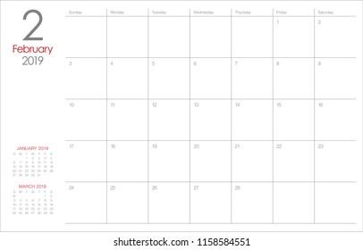 February 2019 desk calendar vector illustration, simple and clean design.