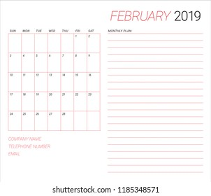 February 2019 desk calendar vector illustration, simple and clean design.