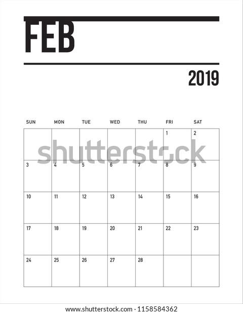 Calendar Feb 2019.February 2019 Desk Calendar Vector Illustration Stock Vector