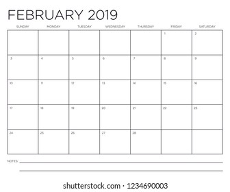 February 2019 Minimal Horizontal One Month Calendar Page