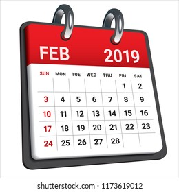 February 2019 monthly calendar vector illustration, simple and clean design.