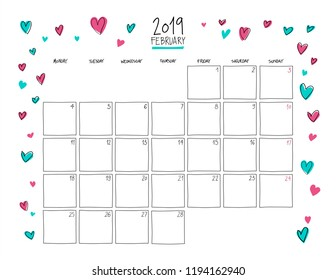February 2019 Colorful Calendar Wall Planner 2019 Images, Stock Photos & Vectors | Shutterstock