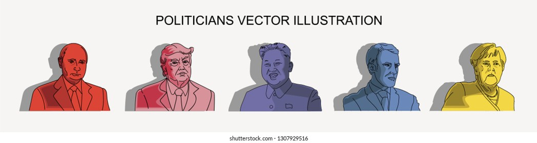 February 2019,Worldwide, Politicians Vector Illustration, Vladimir Putin, Angela Merkel, Donald Trump, Kim Jong-Un, Emmanuel Macron