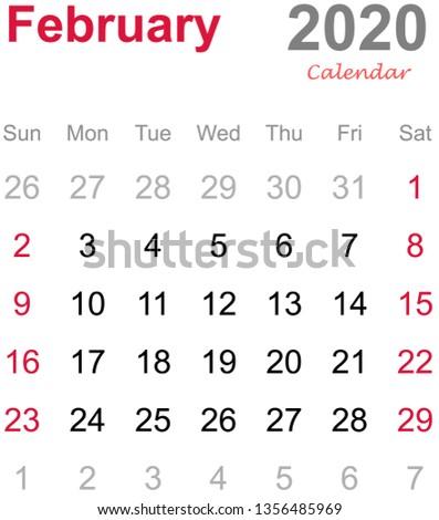 Free February 2020 Calendar Vector February 2020 Calendar Monthly Calendar Template Stock Vector