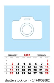 February 2020 calendar planner A3 size with place for your photo. Vector planner.