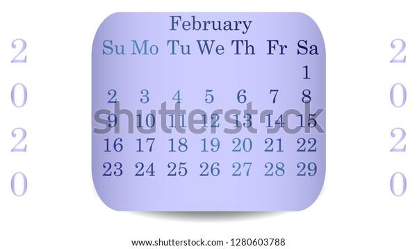 Free February 2020 Calendar Vector February 2020 Calendar 2020 Vector Design Stock Vector (Royalty