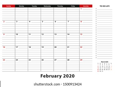 February 2020 Monthly Desk Pad Calendar week starts from sunday, size A3. February 2020 calendar planner with to-do list and place for notes.