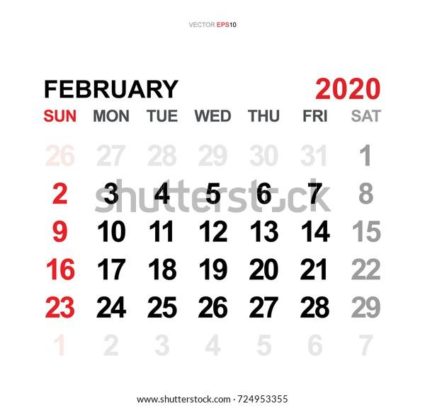 February 2020 Yearly Calendar Template February 2020 Vector Monthly Calendar Template Stock Vector