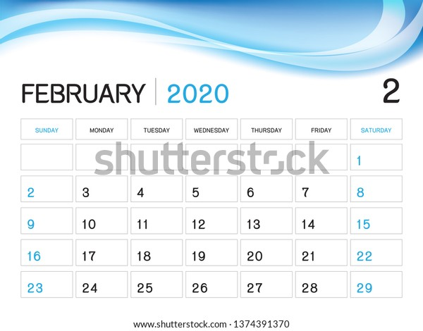 February 2020 Yearly Calendar Template February 2020 Year Template Calendar 2020 Stock Vector (Royalty