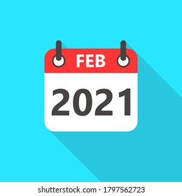 February 2021 Calendar Flat Style Icon Long Shadow. 2021 Business Calendar Planner Flat Vector Icon. Vector Illustration