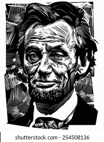 February 21, 2015: A vector illustration of a portrait of the sixteenth President of the USA Abraham Lincoln on an engraved background.