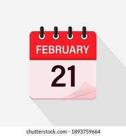 February 21, Calendar icon with shadow. Day, month. Flat vector illustration.