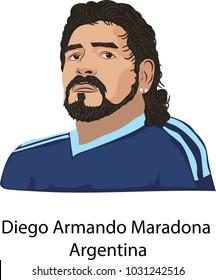 FebrUary, 22, 2018 Illustration vector isoladed, Diego armando Maradona, Argentina