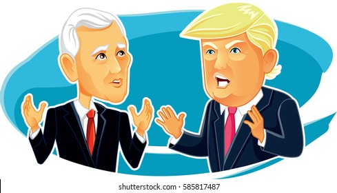 February 23, 2017 Mike Pence and Donald Trump - Vector Caricature Vector  illustration of the American President and Vice President