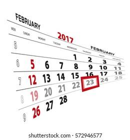 February 23, highlighted on 2017 calendar. Vector Illustration.