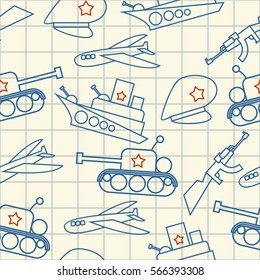 February 23 pattern. Congratulatory texture. Hand drawing in notebook page ornament. Defenders of Fatherland Day. Military holiday in Russia. Tank and warship. Plane and gun