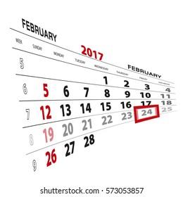 February 24, highlighted on 2017 calendar. Vector Illustration.