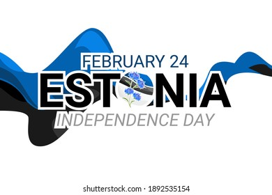 February 24, Independence day of Estonia, with national flower vector illustration. Suitable for greeting card and banner